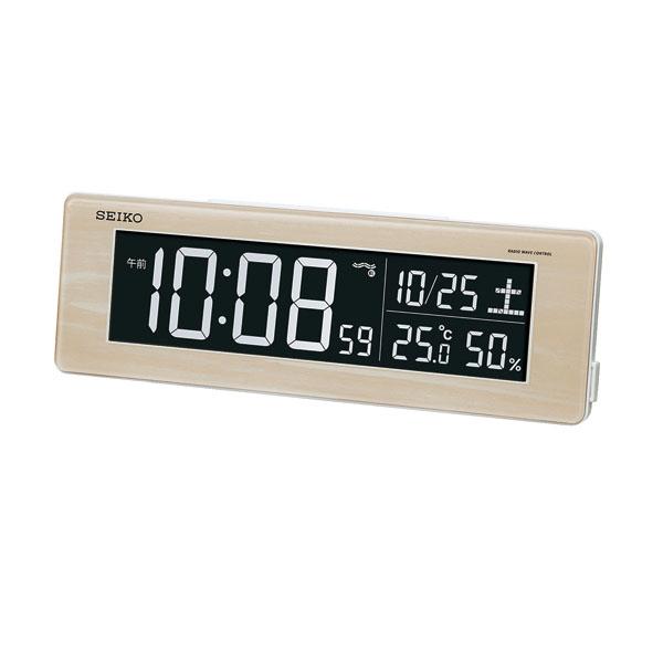 セイコークロック SEIKO 目覚まし時計 置き時計 電波時計 DL210A 薄茶木目模様 シリーズC3 デジタル セイコー目覚まし時計 【あす楽対応】
