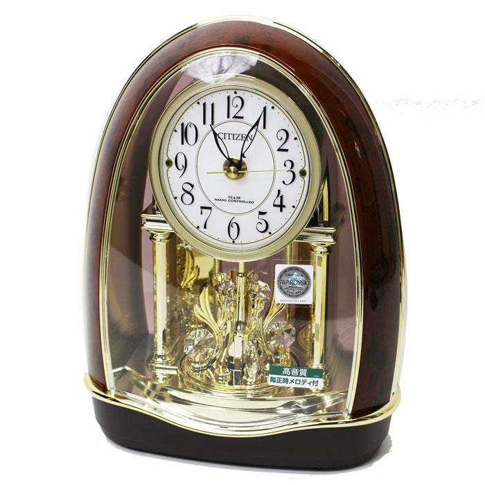 送料無料 シチズン メロディ付電波置き時計 メロディ12曲 茶 木目 音量調節 4RN414-023 アナログ 電波時計 置時計 リズム時計【あす楽対応】