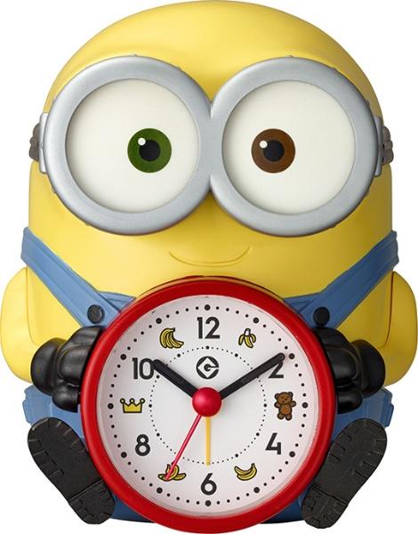 送料無料 リズム時計 ミニオンおしゃべり目覚まし 「ボブの音声アラームクロック」 4REA30ME33 黄