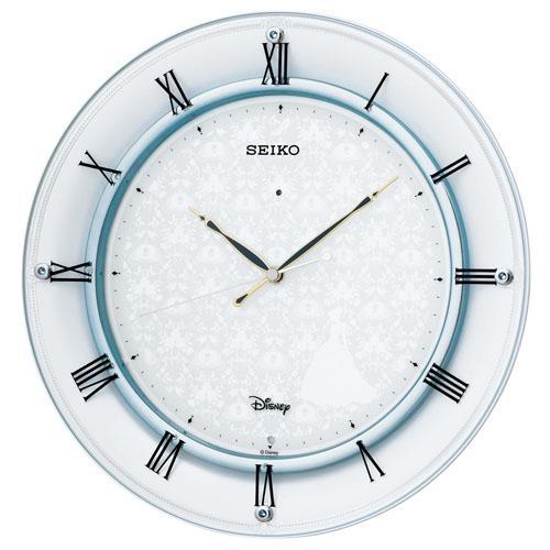 セイコー 大人ディズニー 電波掛け時計 シンデレラ 連続秒針 白パール塗装 スワロフスキークリスタル FS503W 送料無料 SEIKO 壁掛け時計