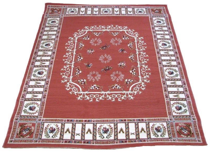 送料無料 トルコ製 ウイルトン織カーペット ラグカーペットベッキオ ローズ色 200x250cm エレガント