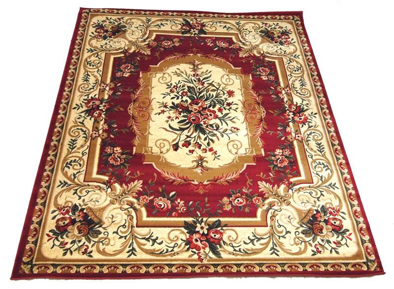 トルコ製ウイルトン織カーペット シーバス 大胆な花柄 200x300cm レッド 長い長方形