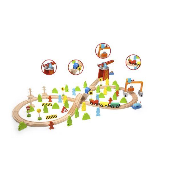 木製レール汽車トレインセット 75ピース 3歳 4歳 5歳 男の子 誕生日 プレゼント