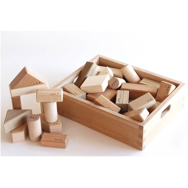 寄木の積木(木箱入り) 積み木 白木 無塗装 日本製 出産祝い 1歳 2歳 誕生日 プレゼント