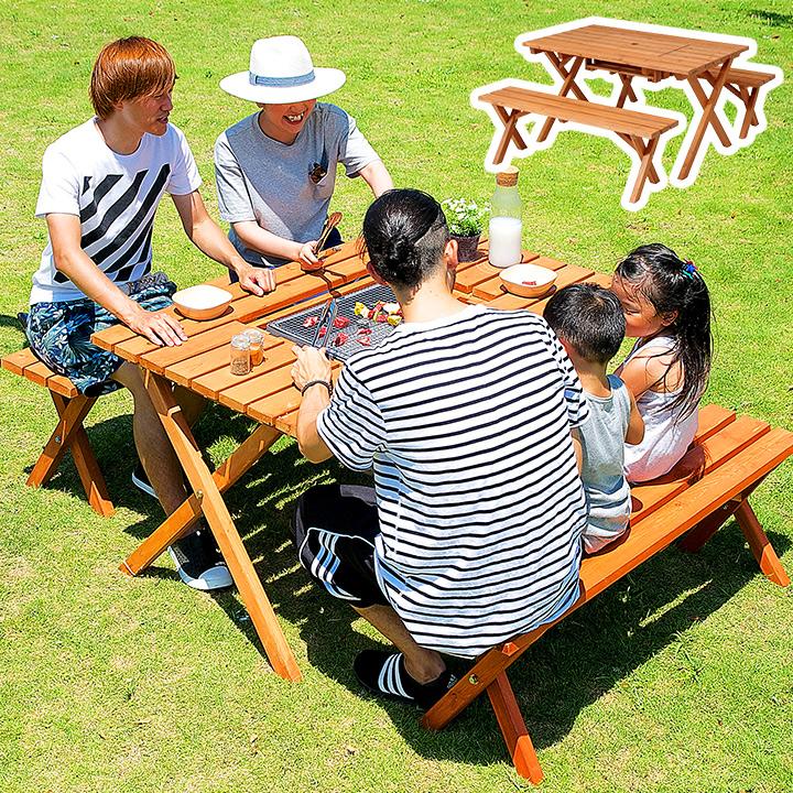 【蓋付きで便利な2WAY仕様】杉材BBQテーブル&ベンチセット ガーデンテーブル 3点セット ベンチ アウトドア 木製ベンチ ガーデン 庭 テーブル 天然木 BBQテーブル バーベキューテーブル チェア 椅子