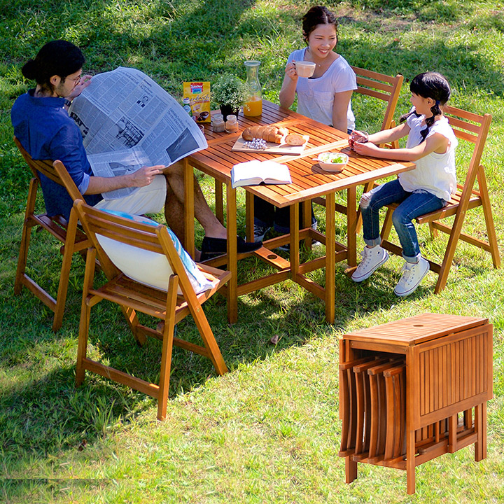 【パラソル使用可/折りたたみ可】バタフライテーブル&チェア 5点セット VFS-GT10FJ ガーデンテーブル ガーデンチェア 木製テーブル 木製チェア ガーデンファニチャー 折りたたみテーブル 折りたたみチェア (大型)