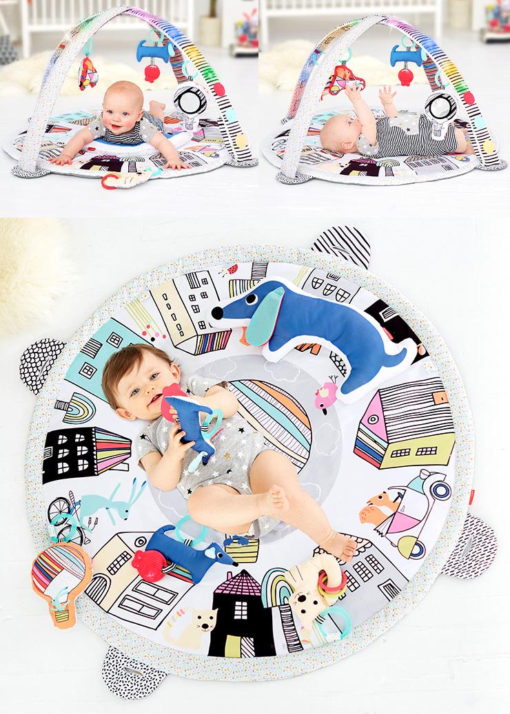 【4つのおもちゃ&ピロー付き/洗濯可能】SKIP HOP(スキップホップ) ベビージム フレンチヴィレッジ・アクティビティジム 赤ちゃん ベビー おしゃれ おもちゃ 海外プレイマット プレイジム