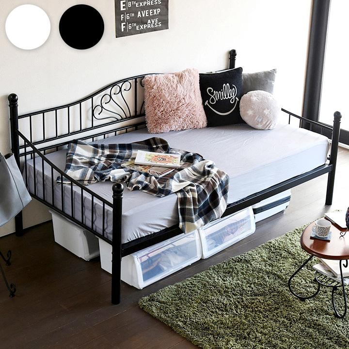【割引クーポン配布中】【高さ調節可能/2way仕様】シェリー・シェアスタイル デイベッド LNG-0002 2色対応 シングルベッド シングルベット シングル ベッド bed ベッドフレーム スチールベッド ソファ ソファベッド 姫系家具 (大型)