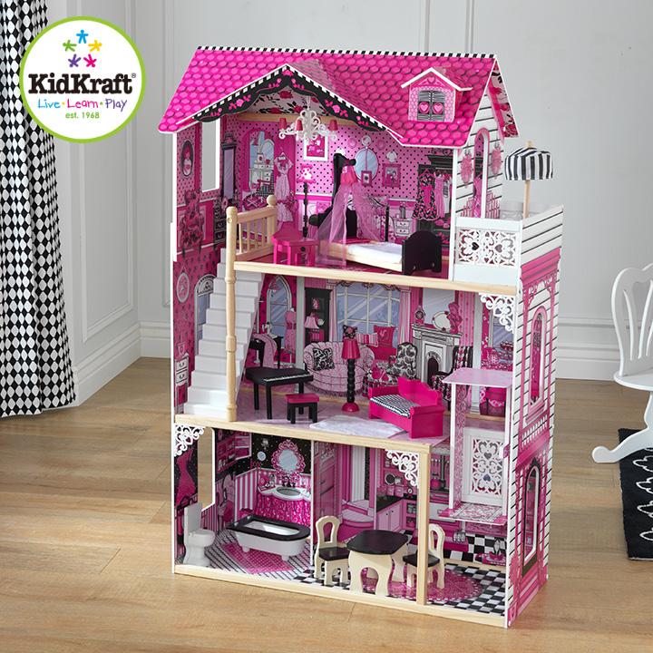 【割引クーポン配布中】【CEマーク認定/家具のおもちゃ14点付き】 KidKraft アメリアドールハウス ミニチュアハウス ドールハウス 高さ120cm 人形遊び 家具付き 三階建て ドールハウスセット 木製 こども 子ども おもちゃ オモチャ (大型)