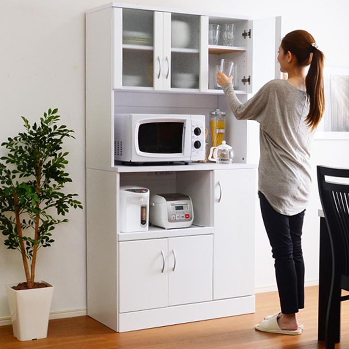 ホワイト鏡面仕上げのワイド食器棚 NewMilano(ニューミラノ) 180cm×90cm