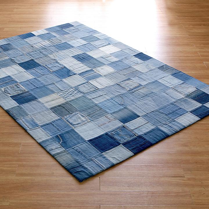 【割引クーポン配布中】インド製 ラグ カーペット Patchwork denim rug(パッチワーク デニム ラグ) 200×140cm WE-130 ラグ デニムラグ カーペット 長方形 ラグマット ジーパン ポケット ジーンズ (大型)