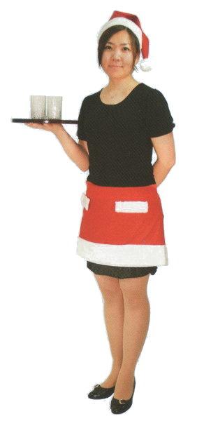 5fc3ee1ef5bfaa クリスマスのサンタクロース衣装 サンタショートカフェエプロン 【あす楽対応】