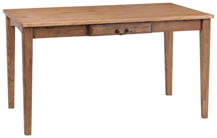 テーブル ダイニングテーブル リビングテーブル 木製 無垢 幅125cm デスク 机 食卓 カフェテーブル リビング 作業机 木製家具 木 引き出し おうちカフェ ダイニング 新生活 シンプル カントリー ナチュラル パイン 無垢材 05P06Aug16
