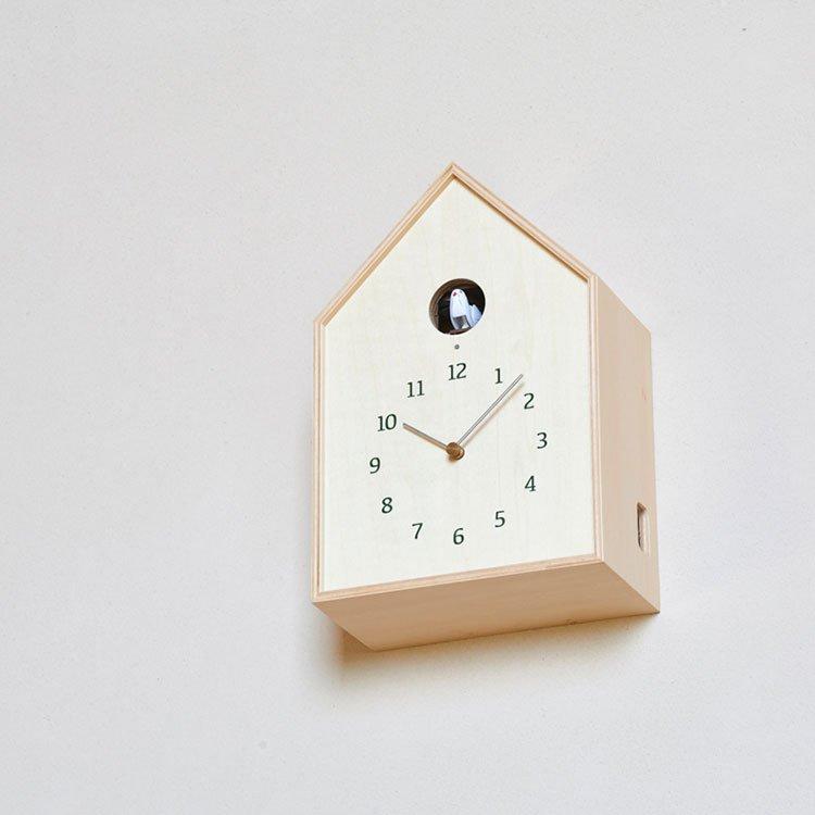 【送料無料】鳩時計 掛け時計 置き時計 バードハウスクロック Birdhouse Clock NY16-12 Lemnos[レムノス]【壁掛け時計 時計 壁掛け はと時計 ハト時計 ライトセンサー カッコー時計 デザイン 白 ホワイト かわいい 雑貨 おしゃれ インテリア オシャレ置き時計】