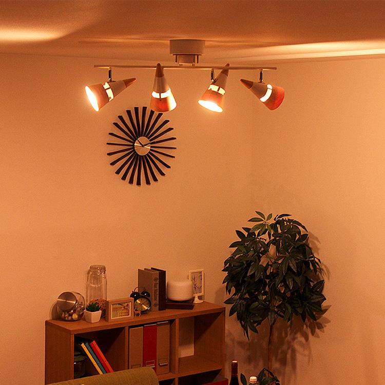 シーリングライト 4灯 ビーク[BEAK]BBR-018T|天井照明 照明器具 間接照明 照明 スチール ウッド 木 和室 寝室 リビング用 居間用 北欧 おしゃれ かわいい 可愛い インテリア 電気 ライト スポットライト シーリング ライト 新生活