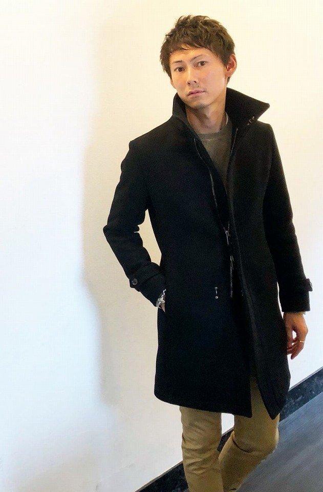 メンズ junhashimoto ジュンハシモト 1011822001 STAND COLLAR ZIP COAT スタンドカラージップコート [BLACK] 正規通販 限定