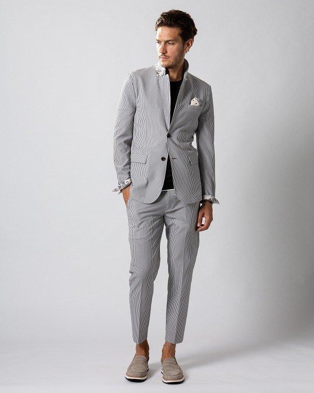 【20%OFFクーポン】メンズ wjk 2935 cf40ms 4way seersucker jacket & slacks [19/bk x wh] 2月上旬入荷予定 公式通販
