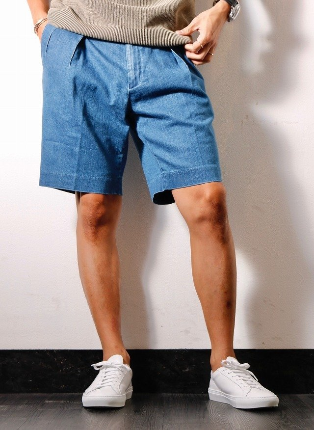 メンズ junhashimoto ジュンハシモト 1071910030 2 TUCK SHORTS 2タックショーツ [BLUE] 正規通販