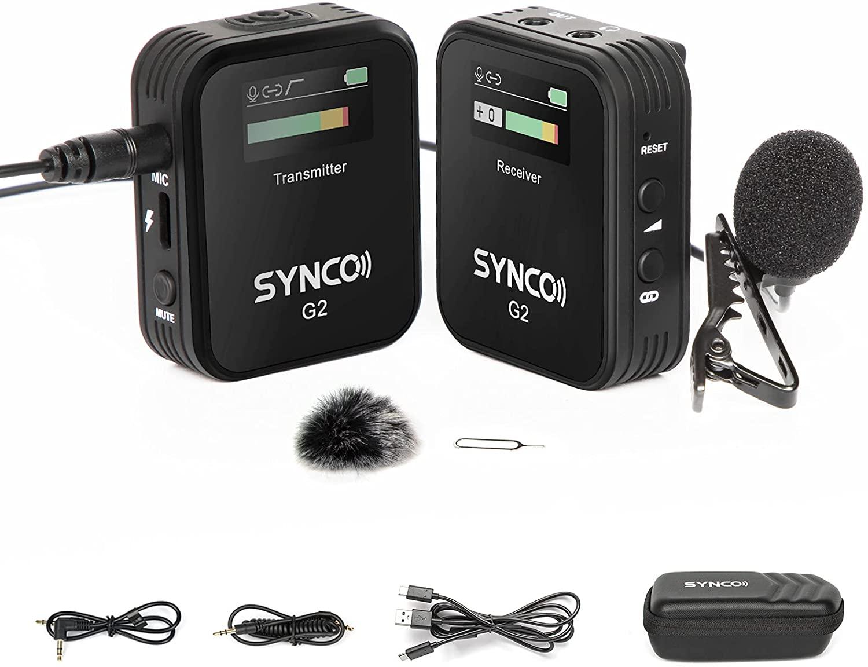 SYNCO-G2 A1 -ワイヤレスピンマイクシステム スマホ外付けマイク カメラマイク 技適マーク認証日本語説明書一年間保証 セール価格 カメラ ビデオカメラ 送信機1台受信機1台 ローカット 軽量 2.4GHzワイヤレスマイク 外部ピンマイク スマホ 激安卸販売新品 タブレットに対応