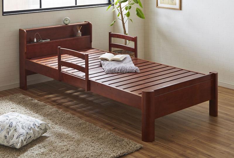 送料無料 セミダブルサイズ頑丈棚付ベッド 「ルキア」