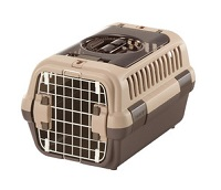 リッチェル キャンピングキャリー ダブルドアM ダークブラウン/ライトピンク/アイボリー+ウォーターノズル キャリー用+ショルダーベルトセットアウトドア 小型犬 猫用 キャンピングキャリー