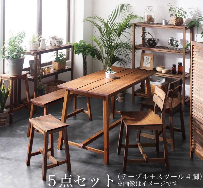 【キャッシュレス5%還元】ルームガーデンファニチャーシリーズ Pflanze プフランツェ 5点セット(テーブル+スツール4脚) W120