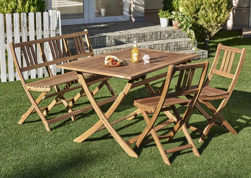 ベンチのサイズが選べる アカシア天然木ガーデンファニチャー Efica エフィカ 4点セット(テーブル+チェア2脚+ベンチ1脚) ベンチ2Pタイプ W120