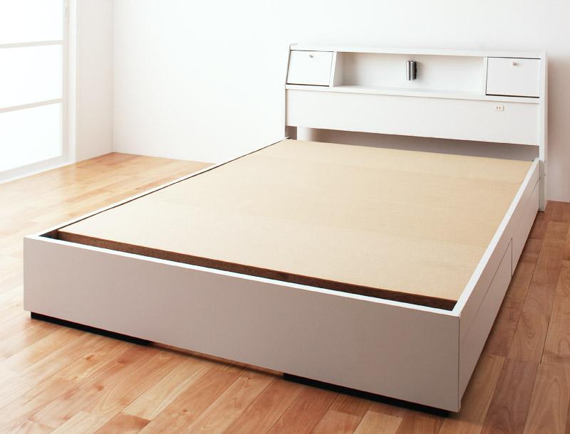 【キャッシュレス5%還元】フラップ棚・照明・コンセントつき多機能ベッド Volonta ヴォロンタ ベッドフレームのみ セミダブル