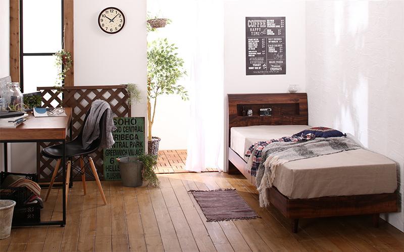 【キャッシュレス5%還元】棚・コンセント付きデザインすのこベッド Rachel レイチェル スタンダードポケットコイルマットレス付き シングル