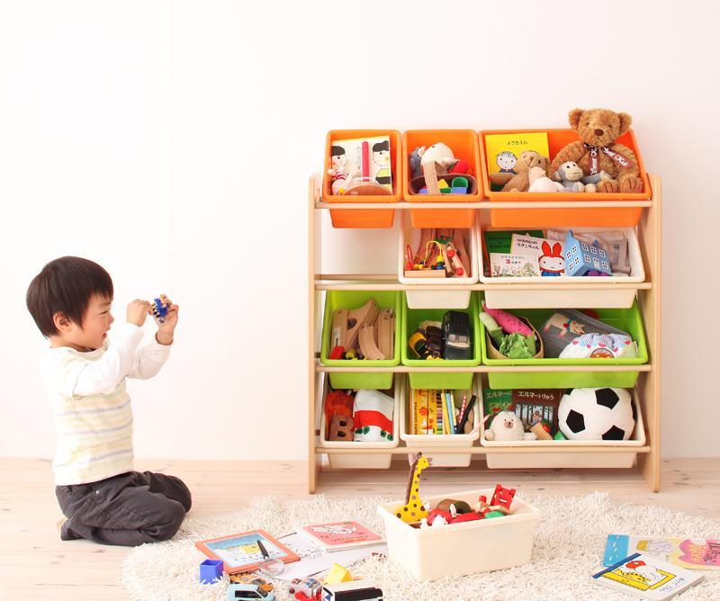 お片づけが身につく!ナチュラルカラーのおもちゃ箱【Mycket】ミュケ 3段