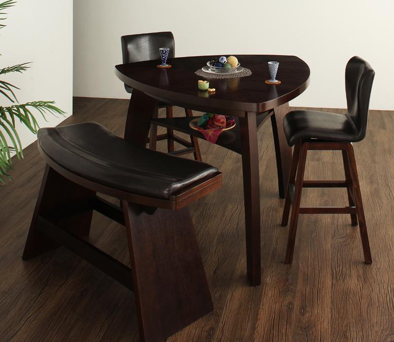 【キャッシュレス5%還元】アジアンモダンデザインカウンターダイニング Bar.EN 4点セット(テーブル+チェア2脚+ベンチ1脚) W135