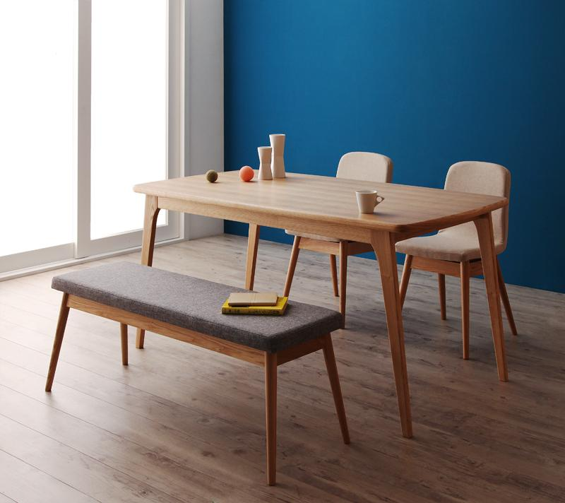 天然木北欧スタイルダイニング【Onnell】オンネル/4点セットAタイプ(テーブル+ベンチ+チェア×2)