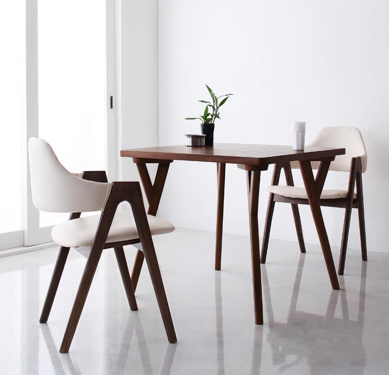 【キャッシュレス5%還元】北欧モダンデザインダイニング VILLON ヴィヨン 3点セット(テーブル+チェア2脚) W80
