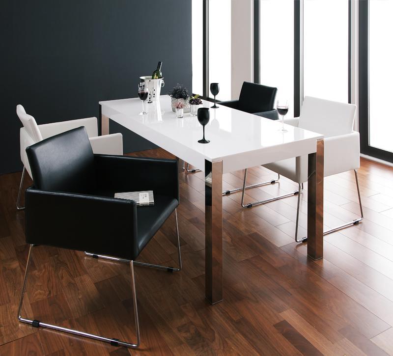 【キャッシュレス5%還元】モダンデザインアームチェア付きダイニング Graniel グラニエル 5点セット(テーブル+チェア4脚) W160