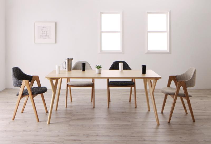 【キャッシュレス5%還元】北欧デザインワイドダイニング OLELO オレロ 5点セット(テーブル+チェア4脚) W170