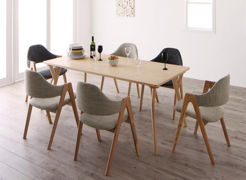 【キャッシュレス5%還元】北欧デザインワイドダイニング OLELO オレロ 7点セット(テーブル+チェア6脚) W170