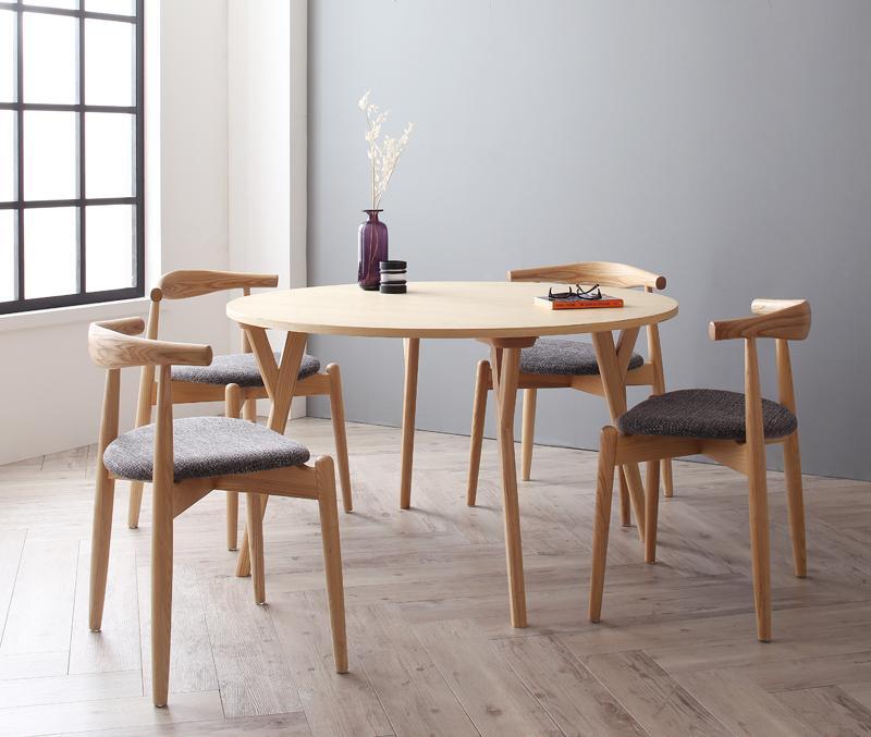 【キャッシュレス5%還元】デザイナーズ北欧ラウンドテーブルダイニング Rour ラウール 5点セット(テーブル+チェア4脚) スタッキングチェア 直径120