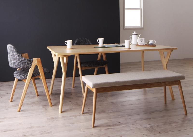 北欧デザインワイドダイニング OLELO オレロ 4点セット(テーブル+チェア2脚+ベンチ1脚) W170