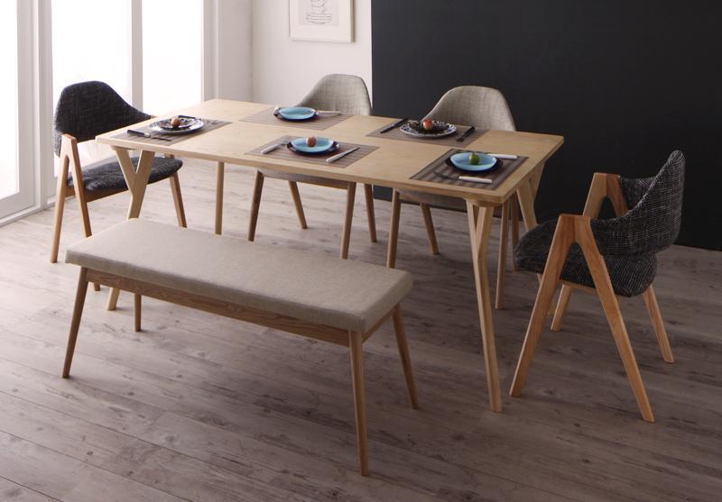【キャッシュレス5%還元】北欧デザインワイドダイニング OLELO オレロ 6点セット(テーブル+チェア4脚+ベンチ1脚) W170