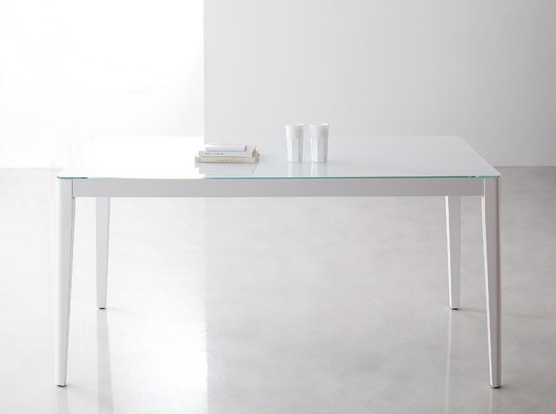 【キャッシュレス5%還元】ハイグレードガラスダイニング Placidez プラシデス ダイニングテーブル グロッシーホワイト W150