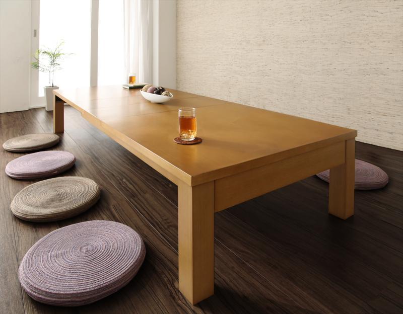 【キャッシュレス5%還元】3段階伸長式!天然木折れ脚エクステンションリビングテーブル PANOOR パノール W145-205