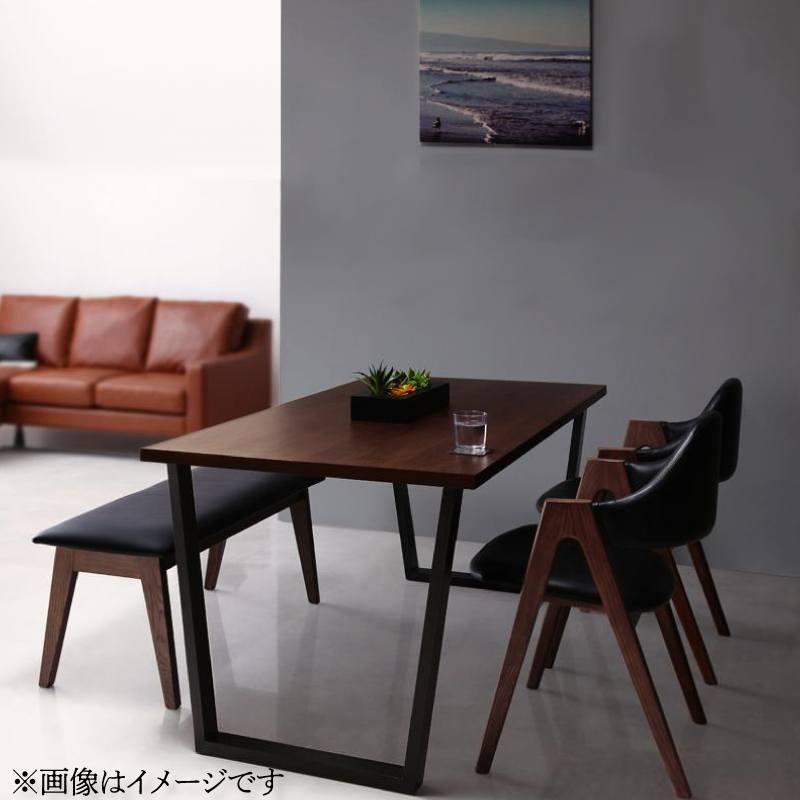 天然木ウォールナットモダンデザインダイニング Wyrd ヴィールド 4点セット(テーブル+チェア2脚+ベンチ1脚) W120