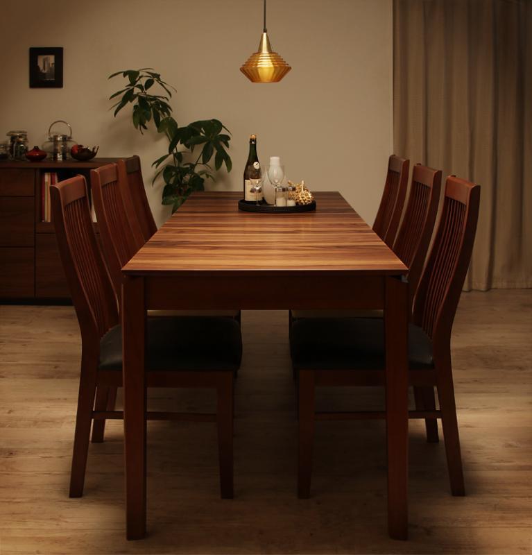 【キャッシュレス5%還元】モダンデザインダイニング Silta シルタ 7点セット(テーブル+チェア6脚) W120-180