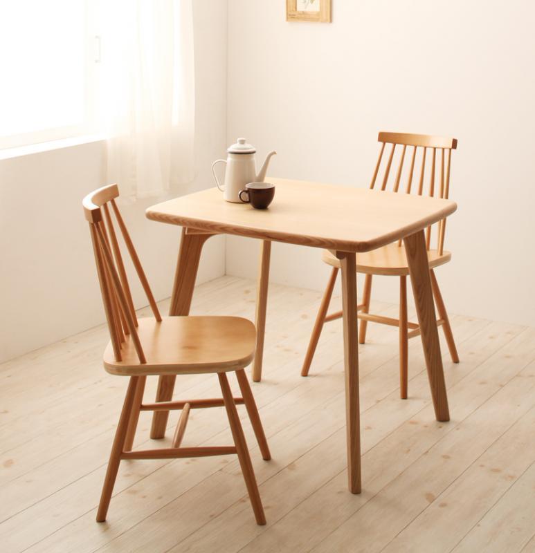 【キャッシュレス5%還元】天然木ウィンザーチェアダイニング Cocon ココン 3点セット(テーブル+チェア2脚) W80