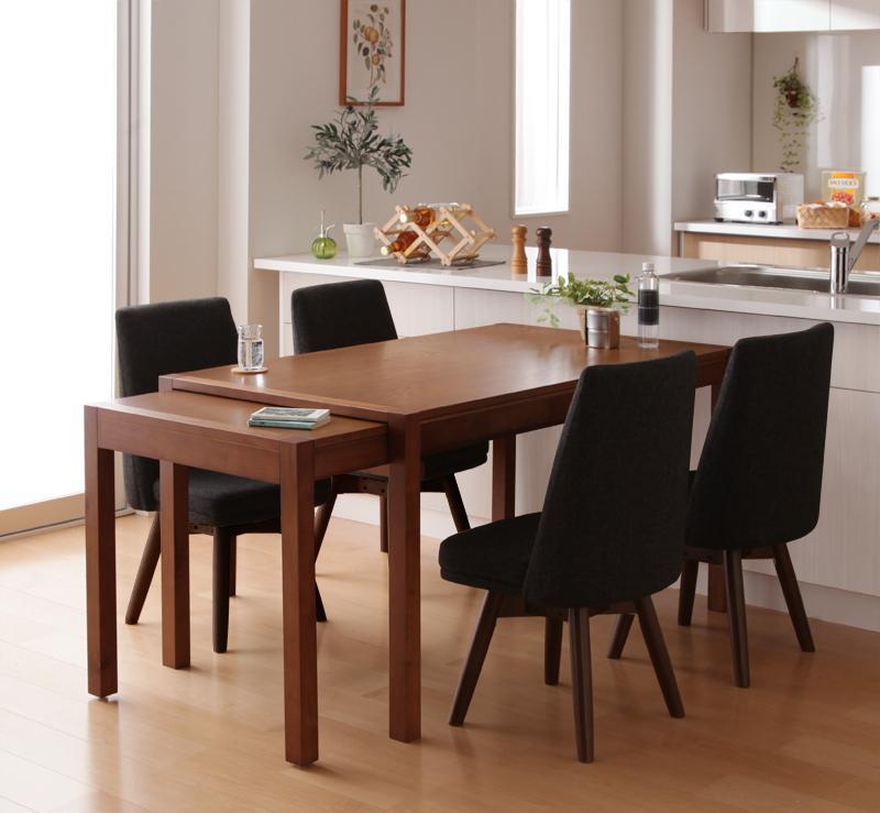 【キャッシュレス5%還元】スライド伸縮テーブルダイニング S-free エスフリー 5点セット(テーブル+チェア4脚) W135-235