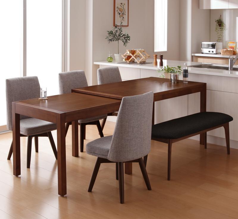【キャッシュレス5%還元】スライド伸縮テーブルダイニング S-free エスフリー 6点セット(テーブル+チェア4脚+ベンチ1脚) W135-235