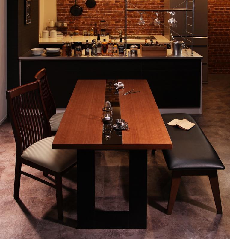 【キャッシュレス5%還元】モダンデザインダイニング Bistro M ビストロ エム 4点セット(テーブル+チェア2脚+ベンチ1脚) W150