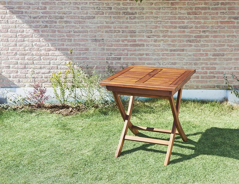 【キャッシュレス5%還元】チーク天然木 折りたたみ式本格派リビングガーデンファニチャー【fawn】フォーン/テーブルA(正方形)