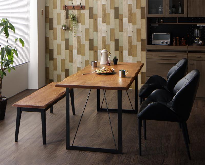 アメリカンオーク 無垢材 ヴィンテージ デザイン 異素材 ミックステーブル ダイニング 天然木 素材 レザー調 チェア PVC ソフトレザー Pittsburgh ピッツバーグ 4点セットA(テーブルW150+チェア×2+ベンチW115)