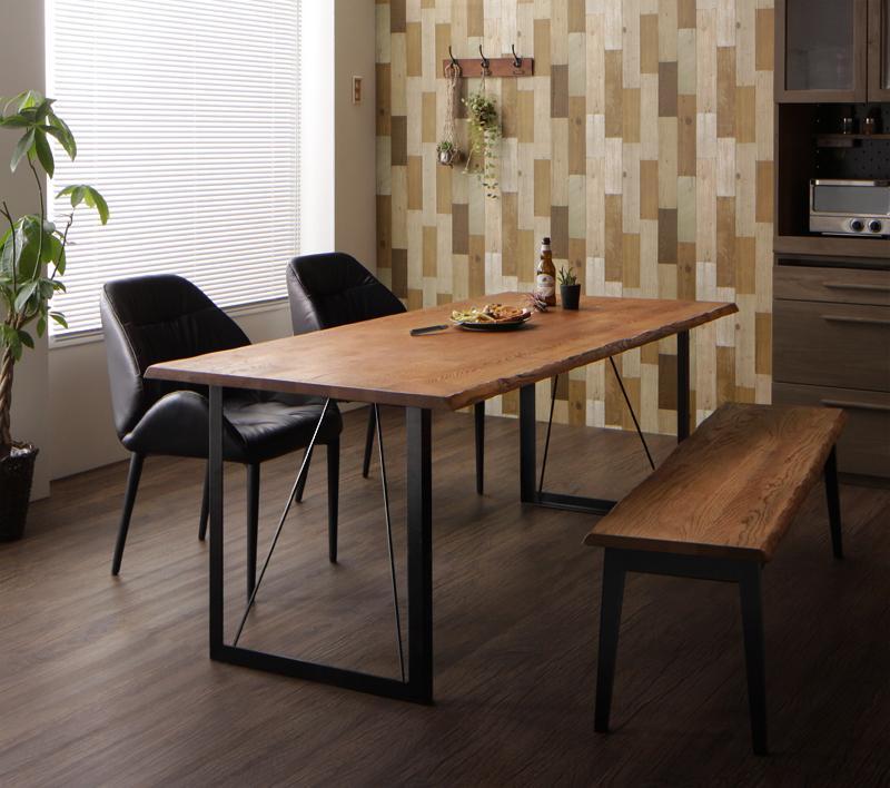 アメリカンオーク 無垢材 ヴィンテージ デザイン 異素材 ミックステーブル ダイニング 天然木 素材 レザー調 チェア PVC ソフトレザー Pittsburgh ピッツバーグ 4点セットB(テーブルW180+チェア×2+ベンチW150)